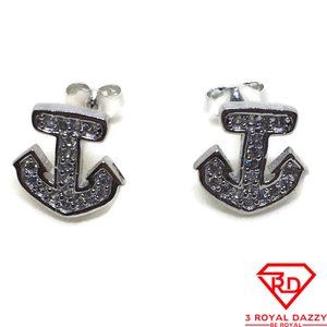 Small Ship anchor with white CZ stud Earrings gold